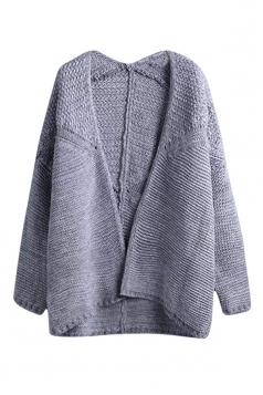 Womens Plain Long Sleeve Crochet Cardigan Sweater Light Gray