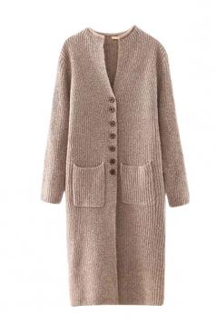 Womens Single-breasted Pockets Plain Long Cardigan Sweater Khaki