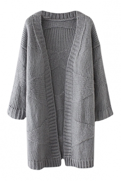 Womens Loose Dropped Shoulder Sleeve Plain Cardigan Sweater Gray