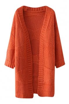 Womens Loose Dropped Shoulder Sleeve Plain Cardigan Sweater Tangerine