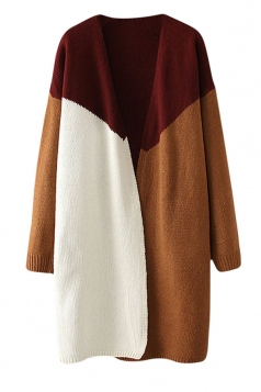 Womens Color Block Loose Long Sleeve Cardigan Sweater Ruby