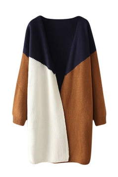 Womens Color Block Loose Long Sleeve Cardigan Sweater Navy Blue