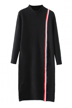 Womens Mock Neck Striped Long Sleeve Sweater Dress Black