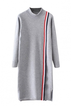 Womens Mock Neck Striped Long Sleeve Sweater Dress Gray