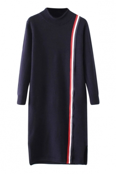 Womens Mock Neck Striped Long Sleeve Sweater Dress Navy Blue