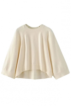 Womens Crewneck Raglan Sleeve High Low Pullover Sweater Beige White