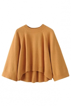 Womens Crewneck Raglan Sleeve High Low Pullover Plain Sweater Ginger