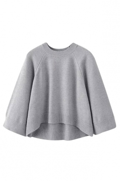Womens Crewneck Raglan Sleeve High Low Pullover Plain Sweater Gray