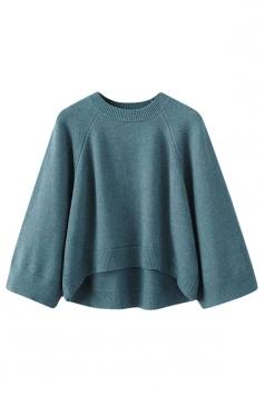 Womens Crewneck Raglan Sleeve High Low Pullover Sweater Turquoise