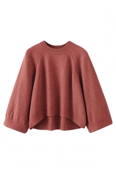 Womens Crewneck Raglan Sleeve High Low Pullover Plain Sweater Ruby