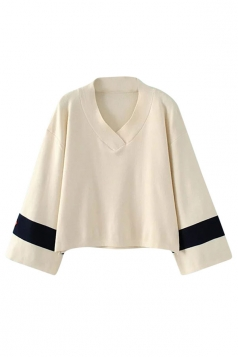 Womens V Neck Color Block Long Sleeve Pullover Sweater Beige White