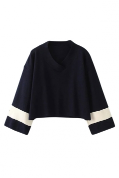 Womens V Neck Color Block Loose Long Sleeve Pullover Sweater Navy Blue