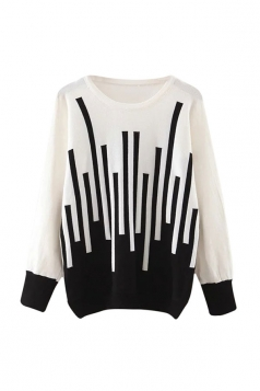 Womens Striped Patterned Long Sleeve Pullover Sweater White