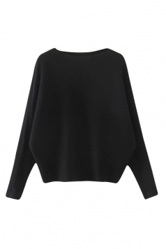 Womens Plain Long Sleeve Cocoon Loose Pullover Sweater Black