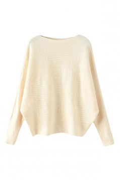 Womens Plain Long Sleeve Cocoon Pullover Sweater Beige White