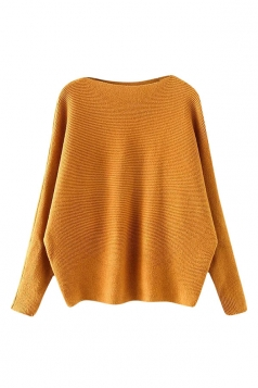 Womens Plain Long Sleeve Cocoon Loose Pullover Sweater Ginger