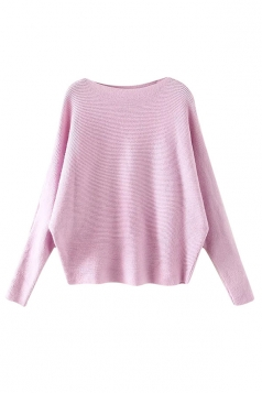 Womens Plain Long Sleeve Cocoon Loose Pullover Sweater Pink