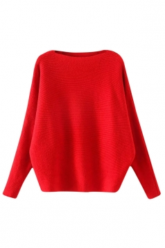 Womens Plain Long Sleeve Cocoon Loose Pullover Sweater Red