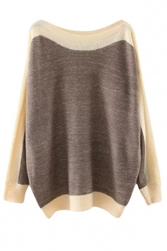 Womens Boat Neck Color Block Long Sleeve Pullover Sweater Dark Gray