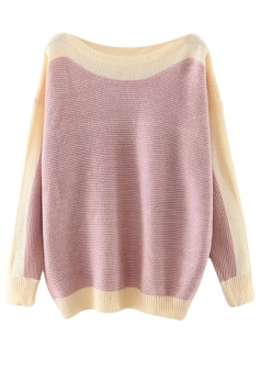 Womens Boat Neck Color Block Long Sleeve Pullover Sweater Pink