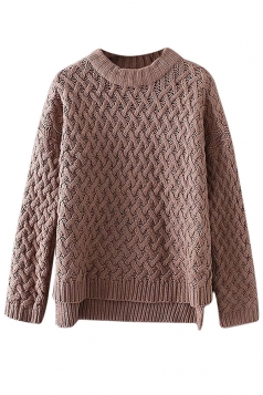 Womens Cable Knitted High Low Plain Pullover Sweater Camel
