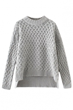 Womens Cable Knitted High Low Plain Pullover Sweater Gray