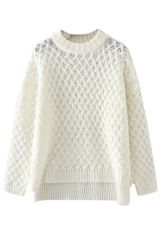 Womens Cable Knitted High Low Plain Pullover Sweater White