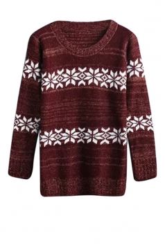 Womens Crewneck Snowflake Patterned Pullover Sweater Ruby