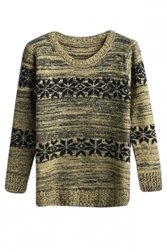 Womens Crewneck Snowflake Patterned Pullover Sweater Yellow