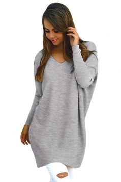 Womens Loose V Neck Long Sleeve Plain Pullover Sweater Light Gray