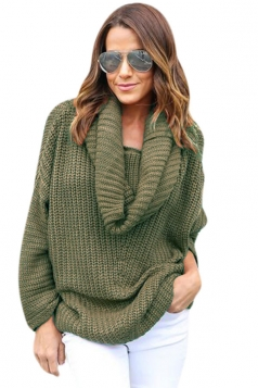 Womens Cowl Neck Long Sleeve Loose Pullover Sweater Army Green