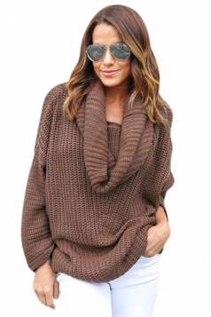 Womens Cowl Neck Long Sleeve Loose Pullover Sweater Coffee