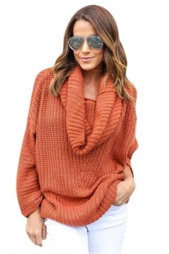 Womens Cowl Neck Long Sleeve Loose Pullover Sweater Tangerine