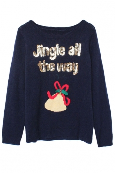Womens Crewneck Christmas Jingle Bell Pullover Sweater Navy Blue