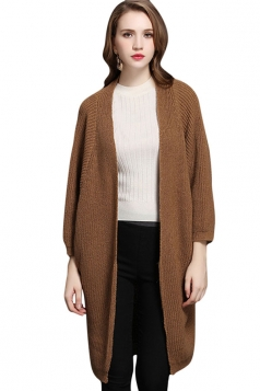 Womens Batwing Sleeve Big Pockets Plain Cardigan Sweater Camel
