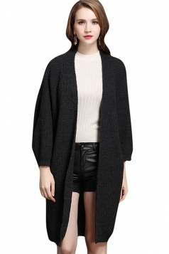 Womens Batwing Sleeve Big Pocket Plain Midi Cardigan Sweater Dark Gray