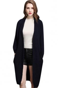 Womens Batwing Sleeve Big Pocket Plain Midi Cardigan Sweater Navy Blue