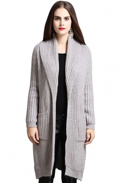 Womens Turndown Collar Side Slit Midi Cardigan Sweater Light Gray