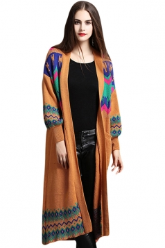 Womens Spectrum Curve Pattern Long Sleeve Midi Cardigan Sweater Brown