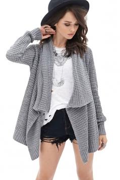 Womens Loose Asymmetric Long Sleeve Plain Cardigan Sweater Gray