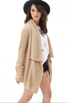 Womens Loose Asymmetric Long Sleeve Plain Cardigan Sweater Khaki