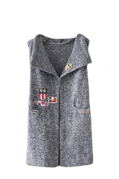 Womens Applique Pockets Sleeveless Cardigan Sweater Gray