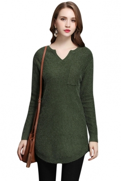 Womens V Neck Pocket Decor Long Sleeve Pullover Sweater Dark Green