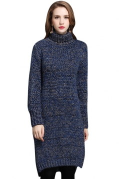 Womens Turtleneck Long Sleeve Side Slit Pullover Midi Sweater Blue