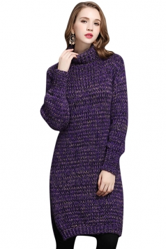 Womens Turtleneck Long Sleeve Side Slit Pullover Midi Sweater Purple