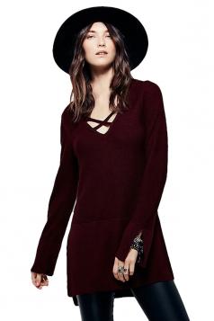 Womens V Neck Long Sleeve Side Slit Pullover Plain Sweater Ruby