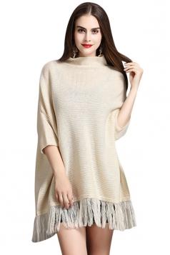 Womens Mock Neck Batwing Sleeve Fringed Side Slit Sweater Beige
