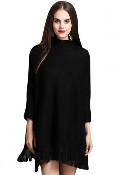 Womens Mock Neck Batwing Sleeve Fringed Side Slit Sweater Black