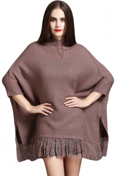 Womens Mock Neck Batwing Sleeve Fringed Side Slit Sweater Brown