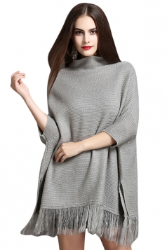 Womens Mock Neck Batwing Sleeve Fringed Side Slit Sweater Gray